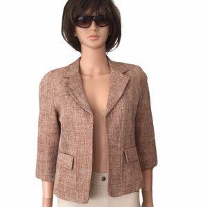 Talbots tan/cream woven open jacket
